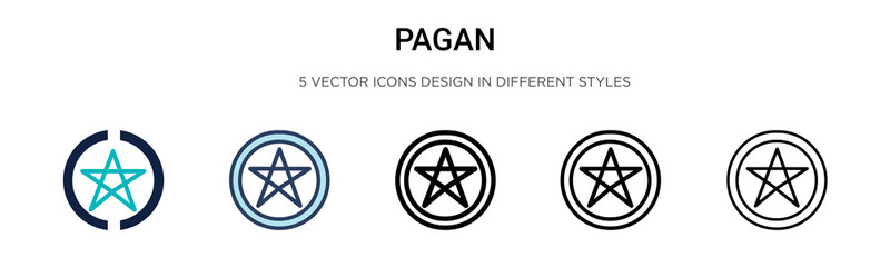 Pagan icon in filled, thin line, outline and stroke style. Vector illustration of two colored and black pagan vector icons designs can be used for mobile, ui, web Wall mural