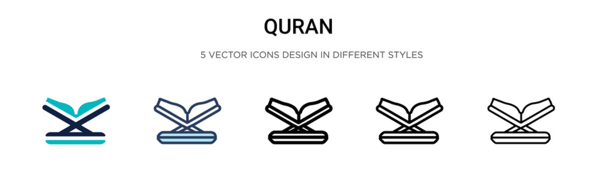 Quran icon in filled, thin line, outline and stroke style. Vector illustration of two colored and black quran vector icons designs can be used for mobile, ui, web