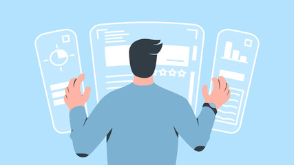 Vector concept illustration of a character operating augmented reality computer interface with his hands. It represents a concept of augmented reality, modern interface, technology development