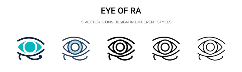 Eye of ra icon in filled, thin line, outline and stroke style. Vector illustration of two colored and black eye of ra vector icons designs can be used for mobile, ui, web