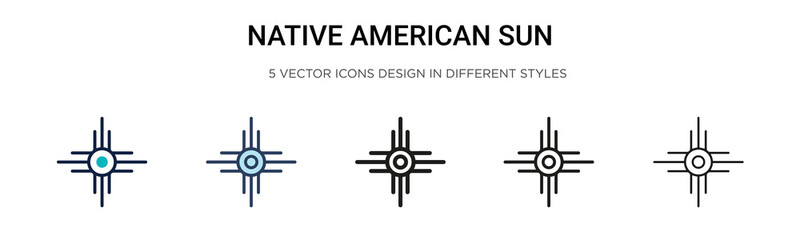 Native american sun icon in filled, thin line, outline and stroke style. Vector illustration of two colored and black native american sun vector icons designs can be used for mobile, ui, web Wall mural