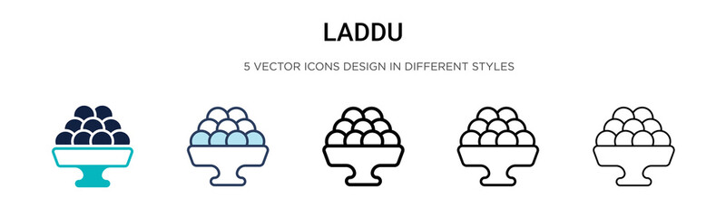 Laddu icon in filled, thin line, outline and stroke style. Vector illustration of two colored and black laddu vector icons designs can be used for mobile, ui, web Wall mural