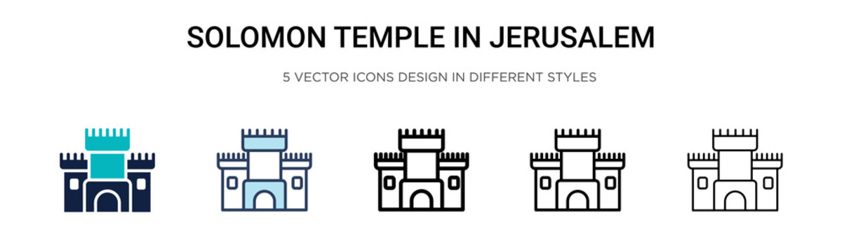 Solomon temple in jerusalem icon in filled, thin line, outline and stroke style. Vector illustration of two colored and black solomon temple in jerusalem vector icons designs can be used for mobile,