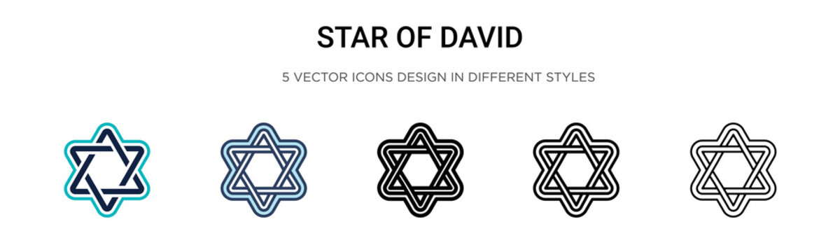 Star of david icon in filled, thin line, outline and stroke style. Vector illustration of two colored and black star of david vector icons designs can be used for mobile, ui, web