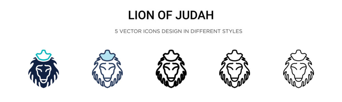 Lion of judah icon in filled, thin line, outline and stroke style. Vector illustration of two colored and black lion of judah vector icons designs can be used for mobile, ui, web