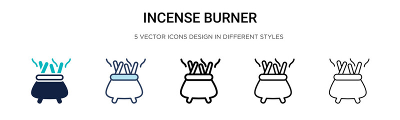 Incense burner icon in filled, thin line, outline and stroke style. Vector illustration of two colored and black incense burner vector icons designs can be used for mobile, ui, web