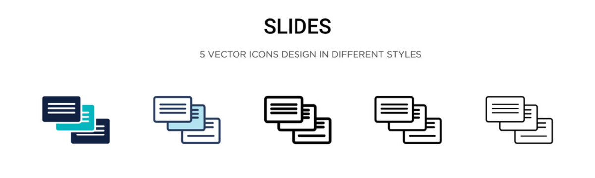 Slides icon in filled, thin line, outline and stroke style. Vector illustration of two colored and black slides vector icons designs can be used for mobile, ui, web