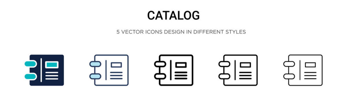 Catalog icon in filled, thin line, outline and stroke style. Vector illustration of two colored and black catalog vector icons designs can be used for mobile, ui, web