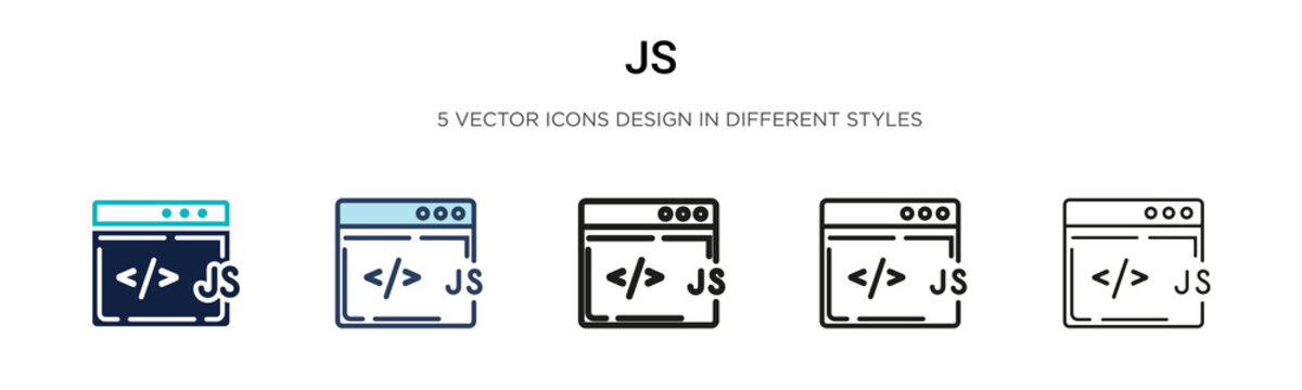 Js icon in filled, thin line, outline and stroke style. Vector illustration of two colored and black js vector icons designs can be used for mobile, ui, web