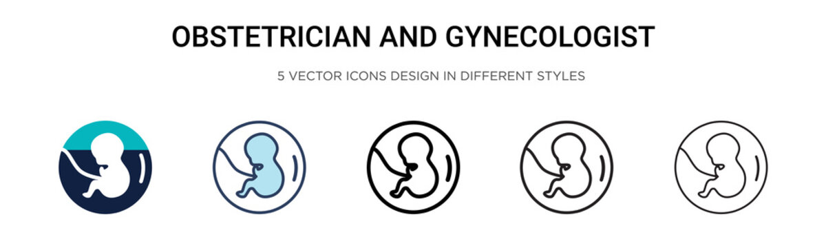 Obstetrician and gynecologist icon in filled, thin line, outline and stroke style. Vector illustration of two colored and black obstetrician and gynecologist vector icons designs can be used for