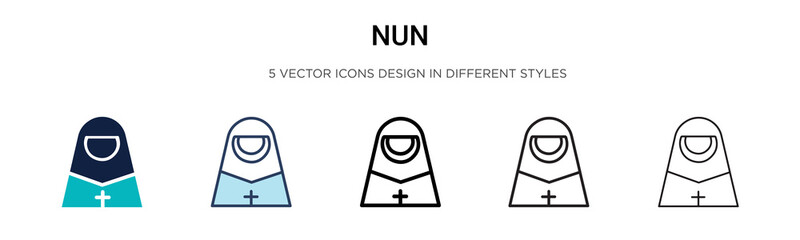 Nun icon in filled, thin line, outline and stroke style. Vector illustration of two colored and black nun vector icons designs can be used for mobile, ui, web Fotomurales