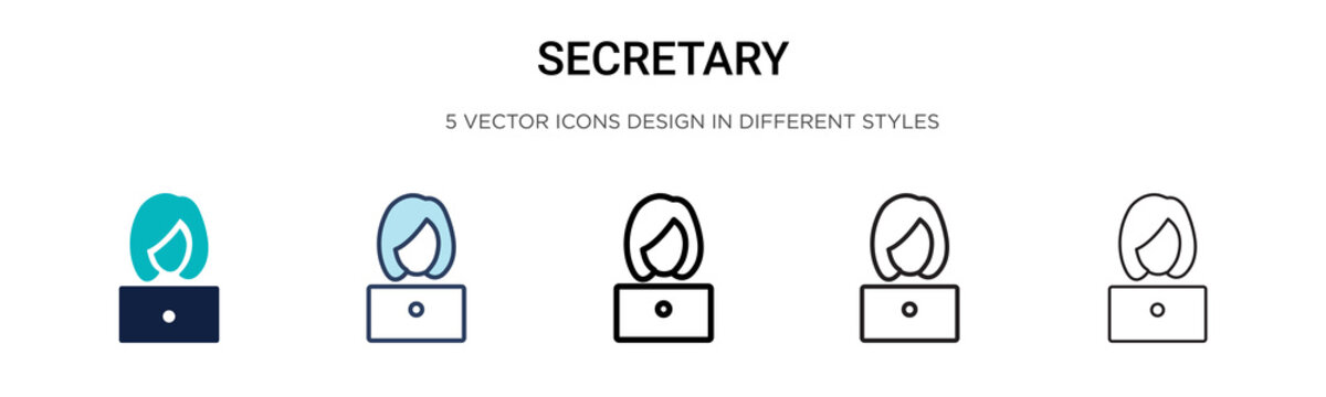Secretary icon in filled, thin line, outline and stroke style. Vector illustration of two colored and black secretary vector icons designs can be used for mobile, ui, web