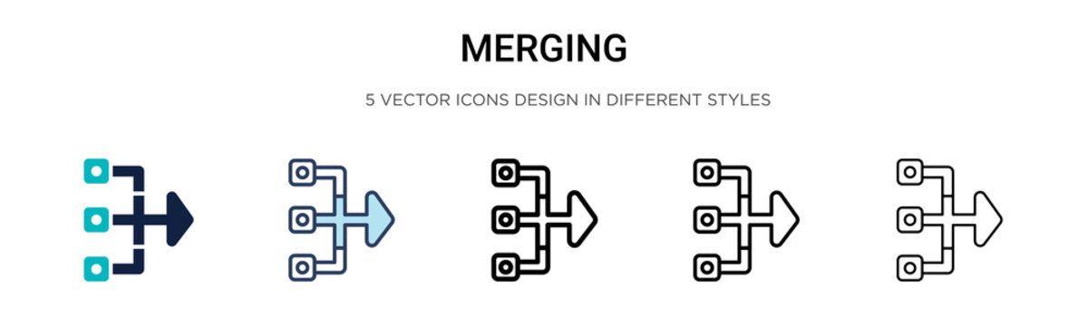Merging icon in filled, thin line, outline and stroke style. Vector illustration of two colored and black merging vector icons designs can be used for mobile, ui, web