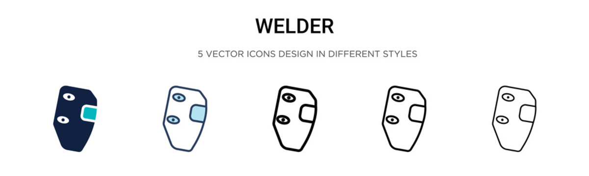 Welder icon in filled, thin line, outline and stroke style. Vector illustration of two colored and black welder vector icons designs can be used for mobile, ui, web