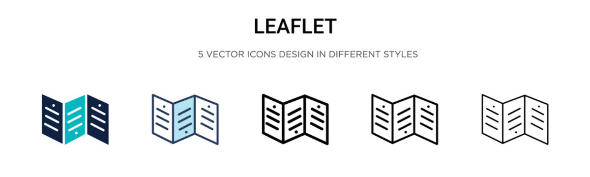 Leaflet icon in filled, thin line, outline and stroke style. Vector illustration of two colored and black leaflet vector icons designs can be used for mobile, ui, web