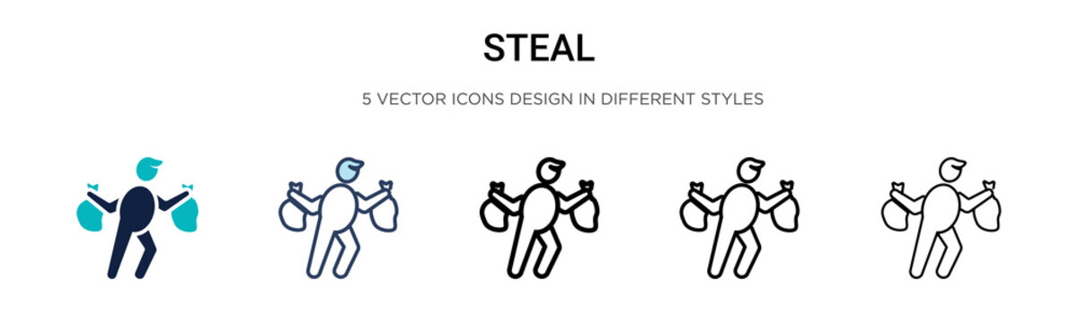 Steal icon in filled, thin line, outline and stroke style. Vector illustration of two colored and black steal vector icons designs can be used for mobile, ui, web