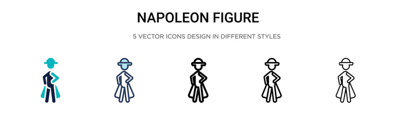 Napoleon figure icon in filled, thin line, outline and stroke style. Vector illustration of two colored and black napoleon figure vector icons designs can be used for mobile, ui, web