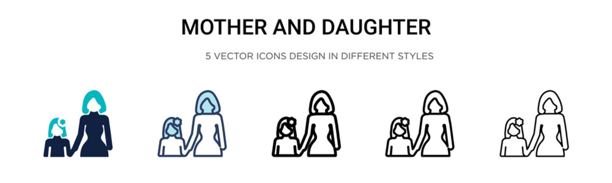 Mother and daughter icon in filled, thin line, outline and stroke style. Vector illustration of two colored and black mother and daughter vector icons designs can be used for mobile, ui, web