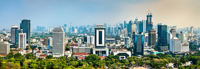 Aerial view of Jakarta from the National Monument. The capital of Indonesia Fototapete