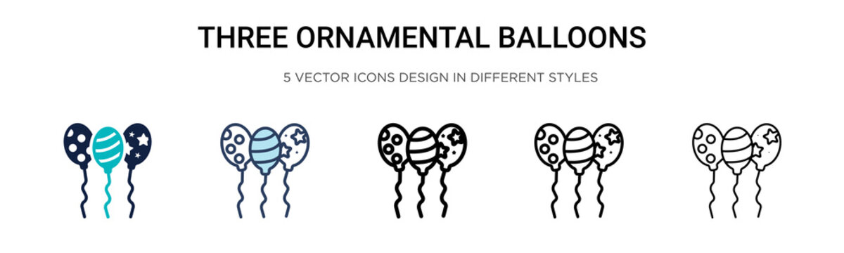 Three ornamental balloons icon in filled, thin line, outline and stroke style. Vector illustration of two colored and black three ornamental balloons vector icons designs