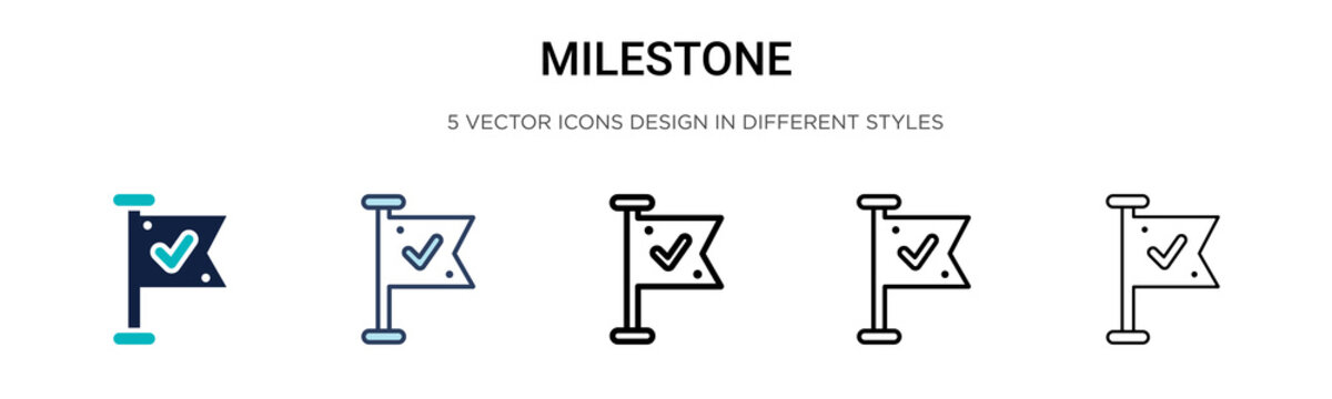Milestone icon in filled, thin line, outline and stroke style. Vector illustration of two colored and black milestone vector icons designs can be used for mobile, ui, web