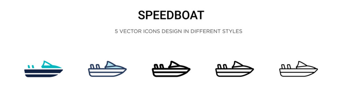 Speedboat icon in filled, thin line, outline and stroke style. Vector illustration of two colored and black speedboat vector icons designs can be used for mobile, ui, web
