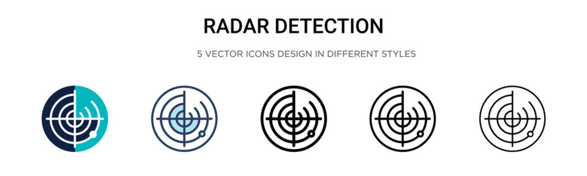 Radar detection icon in filled, thin line, outline and stroke style. Vector illustration of two colored and black radar detection vector icons designs can be used for mobile, ui, web