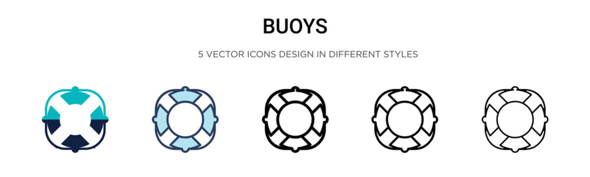 Buoys icon in filled, thin line, outline and stroke style. Vector illustration of two colored and black buoys vector icons designs can be used for mobile, ui, web