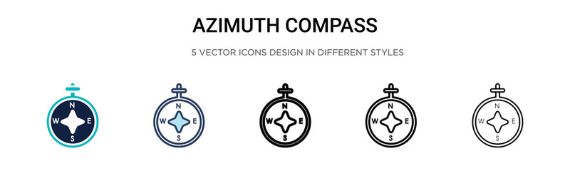 Azimuth compass icon in filled, thin line, outline and stroke style. Vector illustration of two colored and black azimuth compass vector icons designs can be used for mobile, ui, web