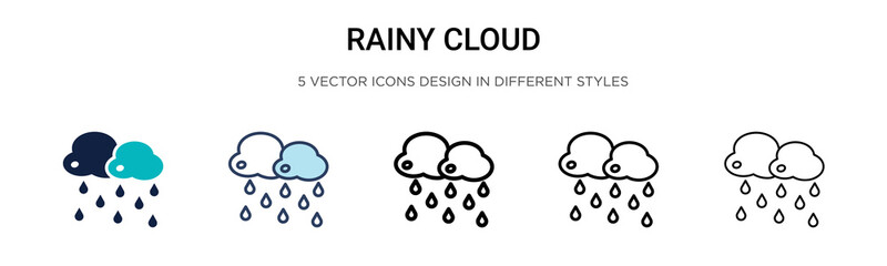 Rainy cloud icon in filled, thin line, outline and stroke style. Vector illustration of two colored and black rainy cloud vector icons designs can be used for mobile, ui, web Fotobehang