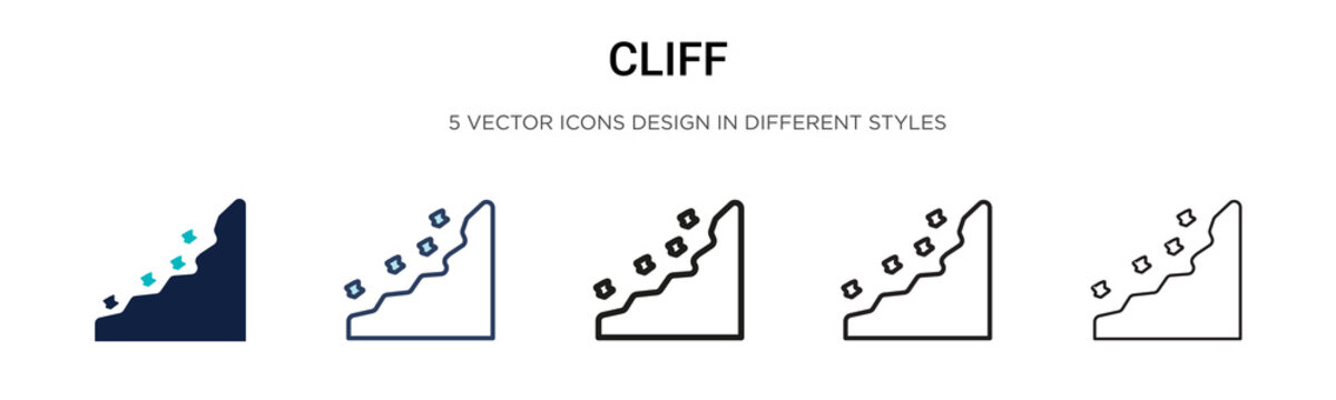 Cliff icon in filled, thin line, outline and stroke style. Vector illustration of two colored and black cliff vector icons designs can be used for mobile, ui, web