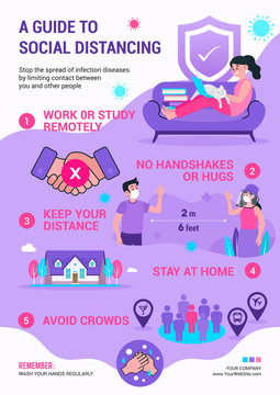 A Guide to Social Distancing infographic flyer design vector illustration. Prevention of COVID-19 poster