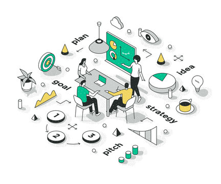 Sales Strategy Presentation Isometric Concept
