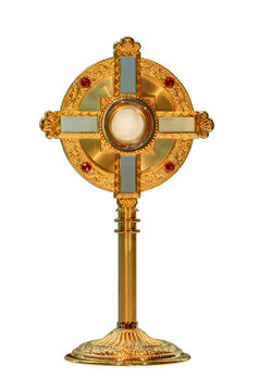 monstrance or ostensorium displaying the consecrated host, the Body of Christ isolated on white background