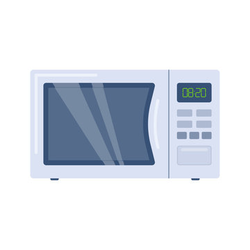 Microwave oven in flat style. Vector illustration of modern microwave