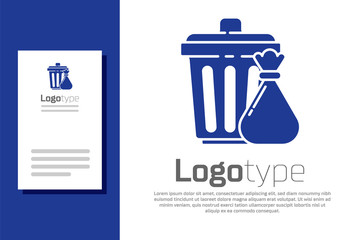 Blue Trash can and garbage bag icon isolated on white background. Garbage bin sign. Recycle basket icon. Office trash icon. Logo design template element. Vector Illustration