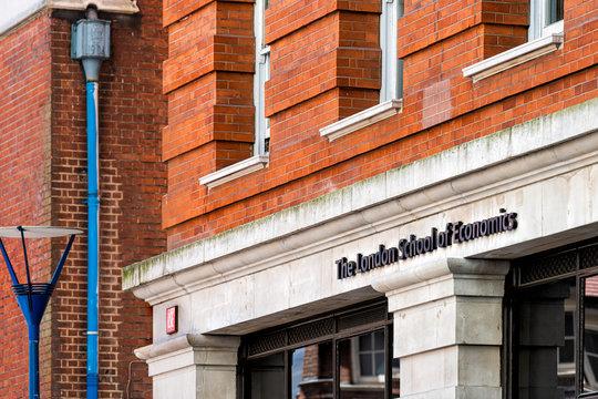 London, UK - June 26, 2018: Building for London School of Economics college university business red sign logo LSE closeup and entrance