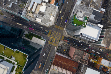 Wall Mural -  Top down view of road intersection