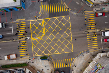 Fototapete - Top down view of road intersection