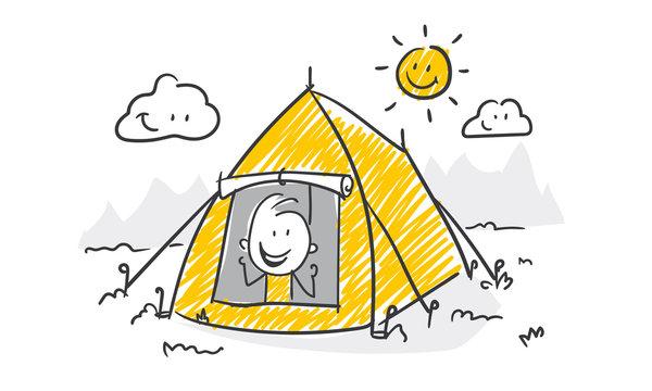 Strichfiguren / Strichmännchen: Zelten, Zelt. (Nr. 477)