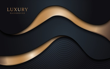 Abstract wavy layers pattern with luxury dark blue and gold background. Vector illustration.