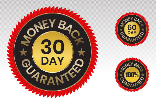 100 percent money back label vector flat icon for customer satisfaction guarantee on a transparent background