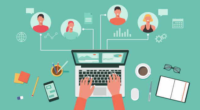 people connecting and working online together on laptop computer, remote working, work from home, work from anywhere and new normal concept, vector flat illustration