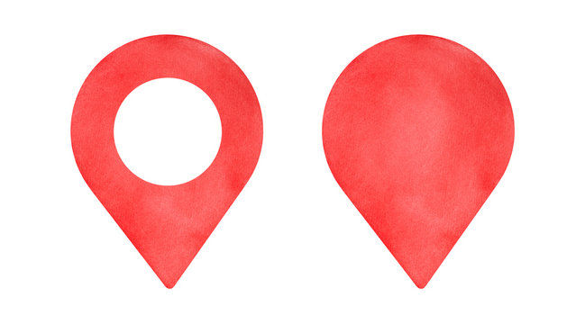 Water color illustration set of bright red Map Pin symbols. The empty one variation and with round in the middle. Handdrawn watercolour sketchy drawing on white, isolated clip art elements for design.