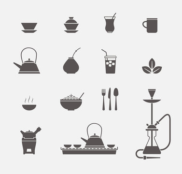 Tea cups and kettles icons