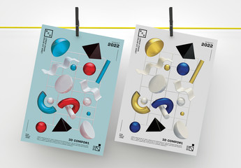 Modern Poster Layout with Abstract 3D Geometric Composition