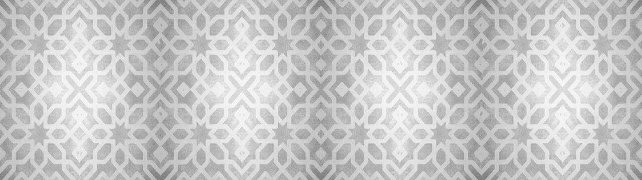 Gray white vintage retro geometric square mosaic motif cement tiles with flower blossom print texture background banner panorama