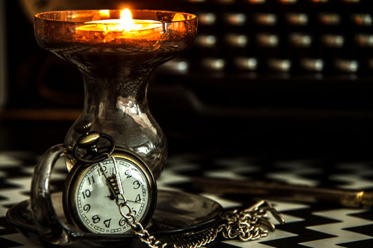 Old pocket watch on the table