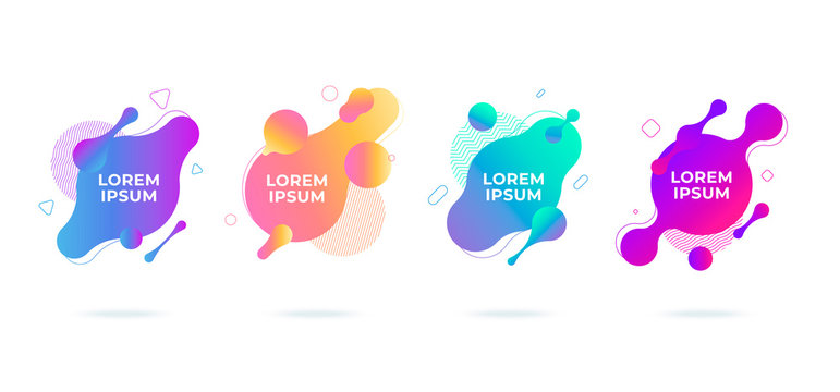 Modern abstract vector banners set flat geometric liquid blob shapes colorful colors