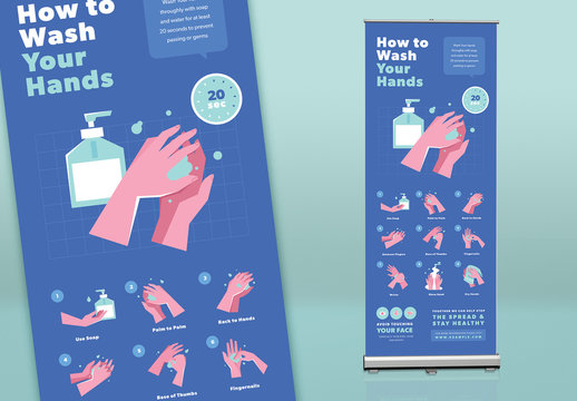 How to Wash Your Hands Retractable Banner Layout